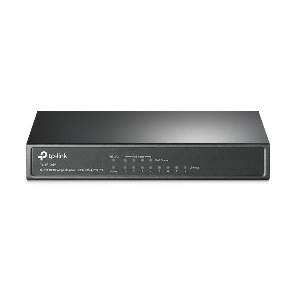 TP-Link TL-SF1008P 8-Port 10/100Mbps Desktop Unmanaged Switch with 4-Port PoE IEEE 802.3af compliant PDs Requires no configuration and installation