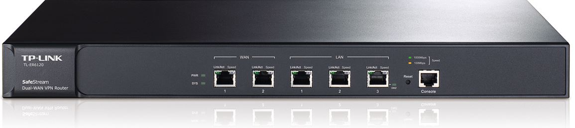 TP-Link TL-ER6120 SafeStream Gigabit Dual-WAN VPN Router 2 WAN ports 2 LAN ports 1 DMZ port multiple VPN 100 IPsec VPN tunnels