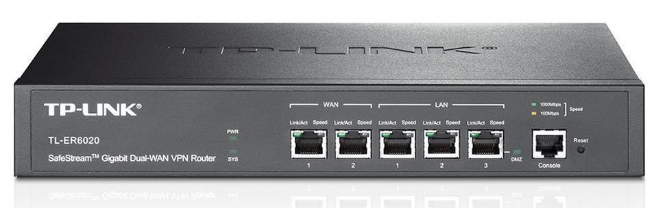 TP-Link TL-ER6020 SafeStream Gigabit Dual-WAN VPN Router 2 Gigabit WAN ports 2 Gigabit LAN ports Gigabit LAN/DMZ port 50xVPN ~NWTL-ER604W