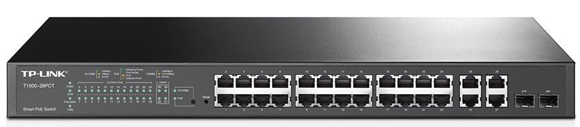 TP-Link T1500-28PCT (TL-SL2428P) 24-Port 10/100Mbps + 4-Port Gigabit Smart PoE+ Switch L2/L3/L4 QoS and IGMP snooping optimize WEB/CLI managed modes