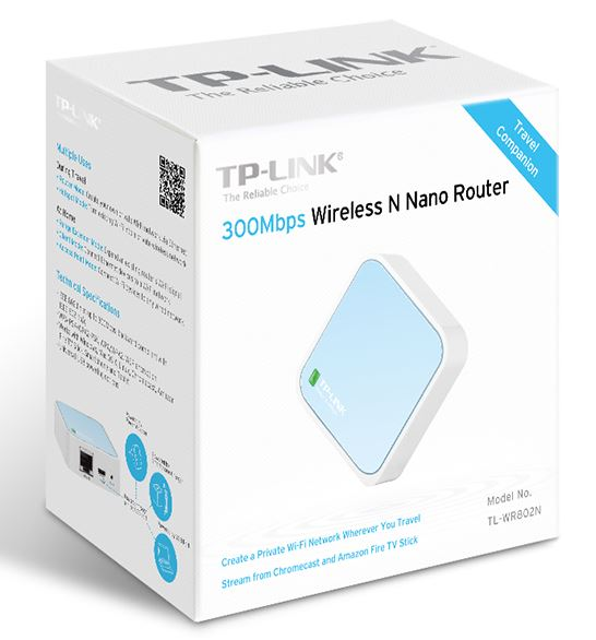 TP-Link TL-WR802N N300 Wireless N Nano Router 2.4GHz 300Mbps 1x100Mbps LAN/WAN 1xMicro USB 802.11bgn Built-in antenna Pocket Size (replace TL-WR702N)