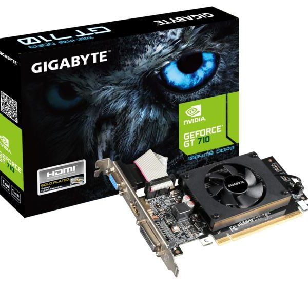 Gigabyte nVidia Geforce GT 710 1GB PCIe Video Card DDR3 4K 3xDisplays HDMI DVI VGA Low Profile Fan ~VCG-N710SL-1GL GV-N710SL-1GL