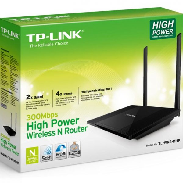 TP-Link TL-WR841HP N300 High Power Wireless N Router 2.4GHz (300Mbps) 4x100Mbps LAN 1x100Mbps WAN 802.11bgn 2*5dBi Detachable Omni Directional WPS but
