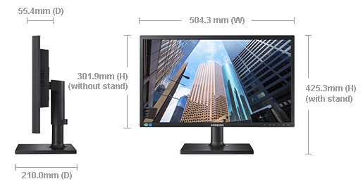 "Samsung 21.5"" Business Monitor FHD Height Adjust D-Sub, DVI, Tilt,VESA Monitor (LS)"