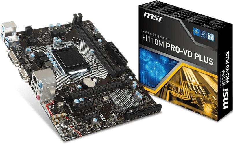 MSI H110M PRO-VD PLUS MATX Motherboard - S1151,2xDDR4,1xPCI-E,DVI/VGA,TPM