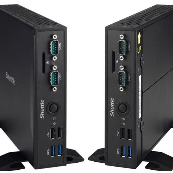"Shuttle DS67U Fanless Slim PC - Celeron 3855U, 2x DDR3L SODIMM, 1x 2.5"" Bay, 1x m.2 2280, 2x Gbe, DP/HDMI, 2x RS232, 1.3L, VESA"