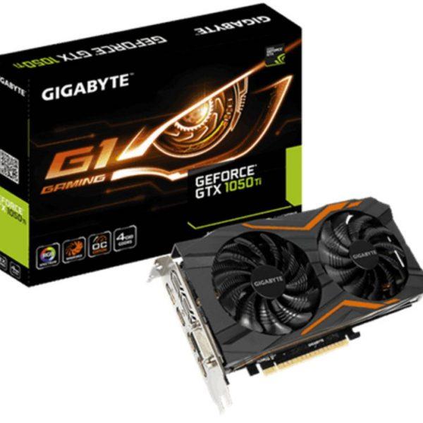 Gigabyte nVidia GeForce GTX 1050 Ti G1 Gaming 4GB PCIe Video Card 8K @ 60Hz DP 3xHDMI DVI 4x Displays Windforce 2X RGB OC 1506/1480 MHz
