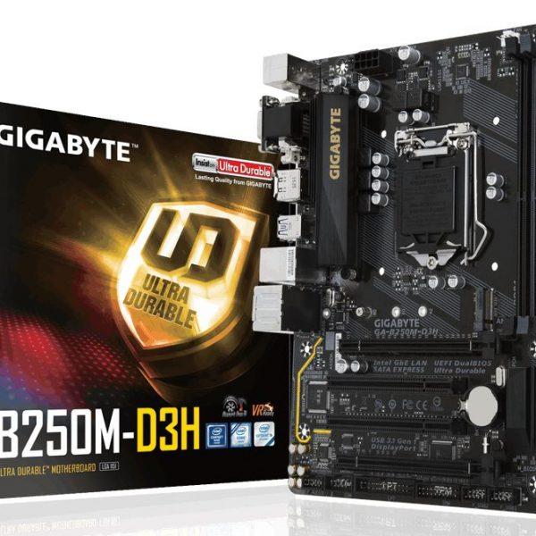 Gigabyte GA-B250M-D3H LGA1151 7Gen mATX Motherboard 4xDDR4 DP HDMI DVI VGA 1xPCIEx16 GbE LAN 1xeSATA 6xSATA3 1xM.2 6xUSB3.1 ~GA-B360M-D3H