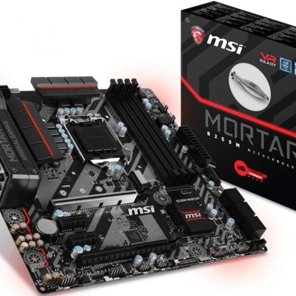 MSI B250M MORTAR MATX Motherboard - S1151 7Geb 4xDDR4 2xPCI-E DP/HDMI/DVI 1xM.2 TypeC CF TPM