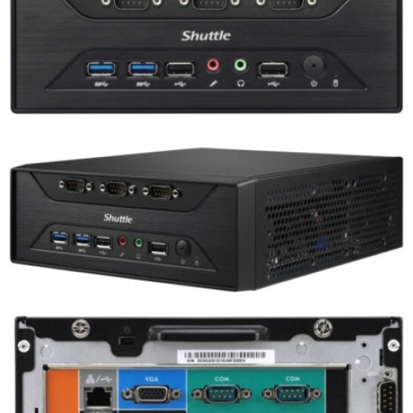 "Shuttle XC60J Fanless 3L PC - Celeron J3355, 2x DDR3L SODIMM, 1x 2.5 or 3.5"" HDD, M.2, 8x RS232, 1x VGA + 1x HDMI, USB3.0, WLAN optional, VESA optiona"