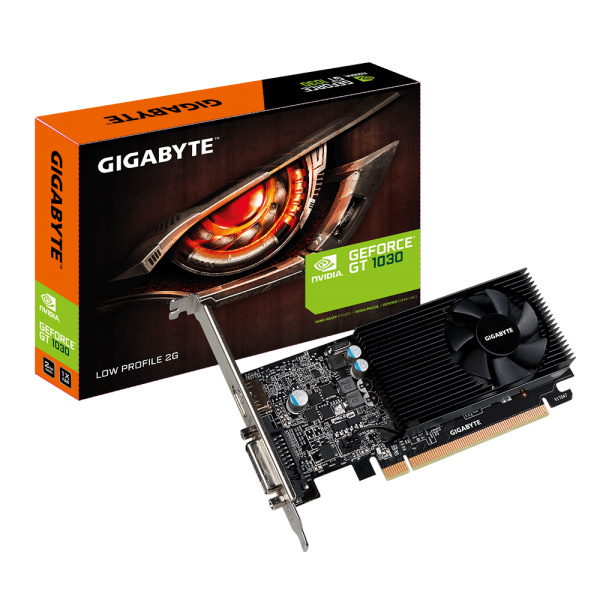 Gigabyte nVidia GeForce GT 1030 2GB DDR5 Fan PCIe Video Card 4K @ 60Hz HDMI DVI 2xDisplays Low Profile 1506/1468 MHz ~VCG-N1030SL-2GL GV-N1030SL-2GL