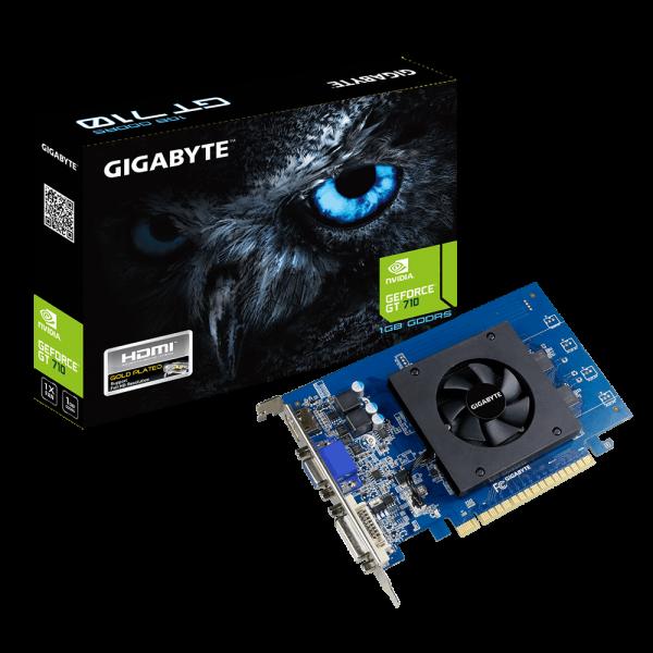 Gigabyte nVidia Geforce GT 710 1GB DDR5 PCIe Video Card 4K 3xDisplays HDMI Dual Link DVI VGA Full Profile Fan 954MHz