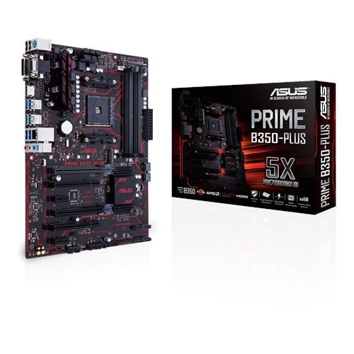 Asus Prime B350-PLUS AM4 ATX MB 4xDDR4 6xPCe 1xM.2 RAID 4xSATA 6xUSB3.1, 1xDVI-D, 1xD-Sub, 1xHDMI