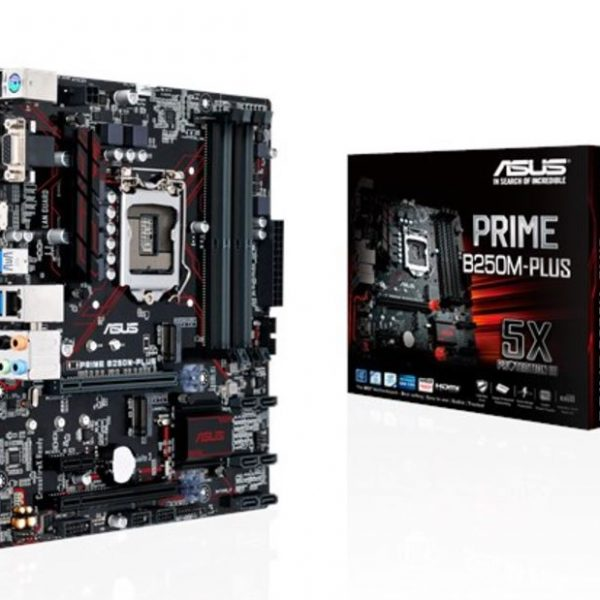 Asus Prime B250M-Plus S1151 mATX MB 4xDDR4 3xPCIe 2XM.2, 3XUSB3.1 Gen1 1xUSB Type-C(support 3A power output), 1xDVI, 1xHDMI, 1xD-Sub