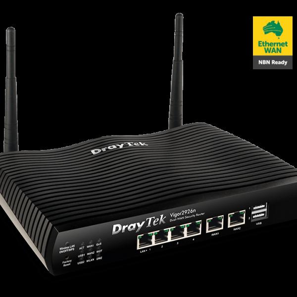 Draytek Vigor2926N Dual WAN Gigabit Broadband Router Wireless N Firewall 50xVPNs 2xGigabit WAN 4xGigabit LAN 3G/4G USB 16xVLAN ~MOD-DV2925N