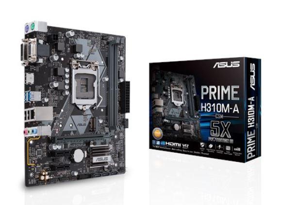 Asus PRIME H310M-A/CSM S1151 mATX MB, 2xDDR4, 3xPCIe, 2xUSB3.1 Gen1, 2xUSB2.0, 1xHDMI, 1xD-Sub, 1xDVI