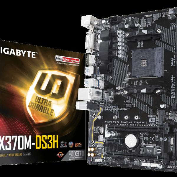 Gigabyte GA-AX370M DS3H AM4 mATX MB 4xDDR4 3xPCIe DVI HDMI M.2 4xSATA3 RAID 6xUSB3.1 8xUSB2.0 GbE LAN RGB ~GA-AB350M-HD3 GA-AB350M-D3H
