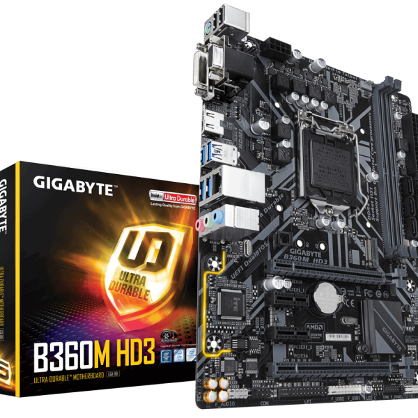 Gigabyte GA-B360M HD3 LGA1151 8Gen mATX MB 2xDDR4 4xPCIe DVI HDMI VGA M.2 6xSATA 4xCrossFire 6xUSB3.1 6x USB2.0 GbE LAN ~GA-B360M-D3H