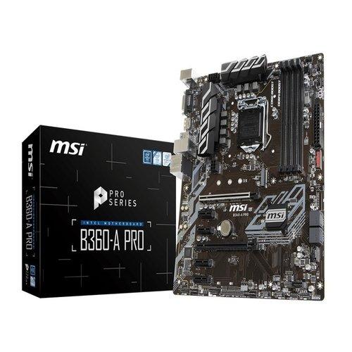 MSI B360-A PRO ATX Motherboard - S1151 8Gen 4xDDR4 6xPCI-E, 1xM.2, 4xUSB3.1, 2xUSB2.0, 1xDP, 1xDVI