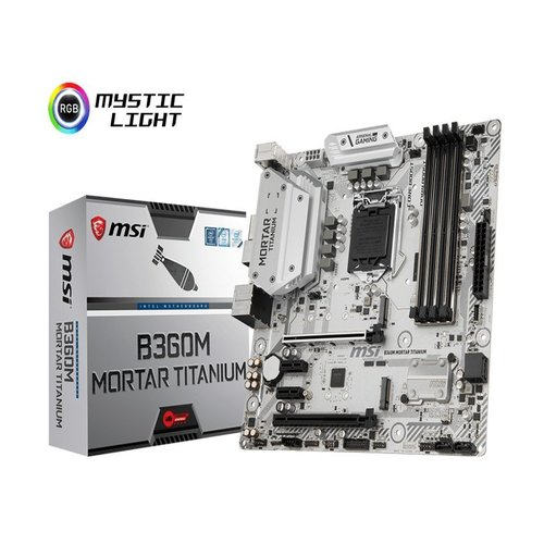 MSI B360M MORTAR TITANIUM mATX Motherboard - S1151 8Gen 4xDDR4 4xPCI-E, 2xM.2, 2xUSB3.1, 4xUSB2.0, 1xDP, 1xDVI, 1xHDMI
