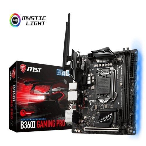 MSI B360I GAMING PRO AC mITX Motherboard - S1151 8Gen 2xDDR4 1xPCI-E, 2xM.2, 4xUSB3.1, 2xUSB2.0, 1xDP, 1xDVI