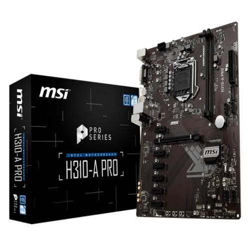 MSI H310-A PRO ATX Motherboard - S1151 8Gen 2xDDR4 7xPCI-E, 2xUSB3.1, 4xUSB2.0, 1xDVI, 1xHDMI