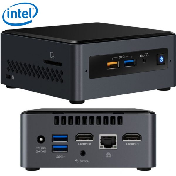 "Intel NUC BOXNUC7PJYH4 mini PC J5005 2.8GHz 2xDDR4 SODIMM 2.5"" HDD/SSD 2xHDMI 2xDisplays GbE LAN WiFi BT 4xUSB3.0 2xUSB2.0 for Digital Signage POS"
