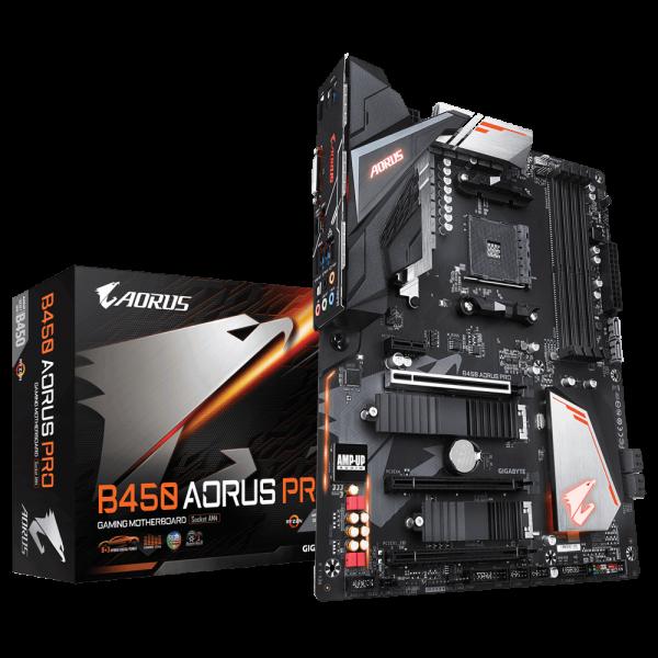 Gigabyte B450 AORUS PRO Ryzen AM4 ATX Motherboard 4xDDR4 4xPCIE 2xM.2 DVI HDMI RAID Intel GbE LAN 6xSATA 1xUSB-C 7xUSB3.1 RGB Fusion