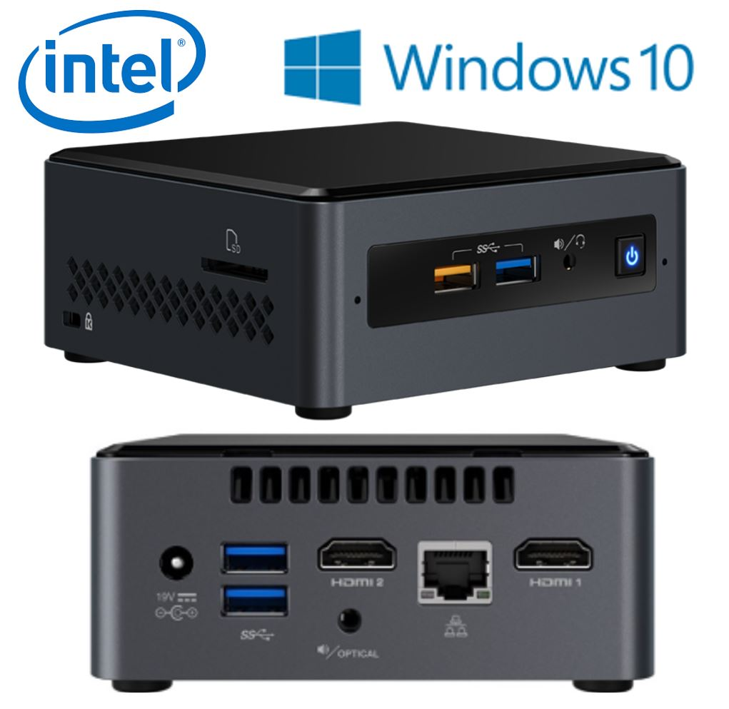 "Intel NUC BOXNUC7CJYSAL4 mini PC J4005 2.7GHz 4GB DDR4 32GB eMMC 2.5"" HDD Windows 10 Home 2xHDMI 2xDisplays GbE LAN WiFi BT 4xUSB3.0 2xUSB2.0"