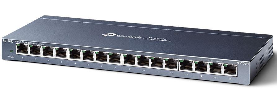 TP-Link TL-SG116 16-Port Gigabit Unmanaged Desktop/Wall Mounting Switch 32Gbps Capacity 23.81Mpps 8K MAC 4.1Mb Buffer Fanless