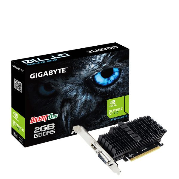 Gigabyte nVidia Geforce GT 710 2GB PCIe Video Card DDR5 4K 2xDisplays HDMI DVI Low Profile Heatsink 954MHz