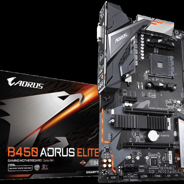 Gigabyte B450 AORUS ELITE Ryzen AM4 ATX Motherboard 4xDDR4 4xPCIE 2xM.2 DVI HDMI RAID GbE LAN 6xSATA 6xUSB3.1 8xUSB2.0 Quad CrossFire RGB Fusion