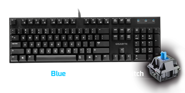 Gigabyte FORCE K83 Mechanical Gaming Keyboard Cherry MX Blue Switch Anti-ghosting Function & Windows-lock hotkeys Wear Resistant Keycaps