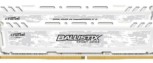 Crucial Ballistix Sport LT 16GB (2x8GB) DDR4 2666MHz C16 Gaming Memory White